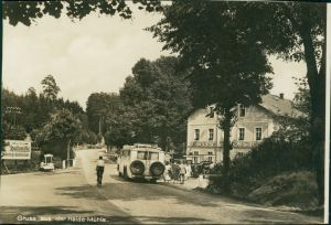 Ansichtskarte Langebrück-Dresden Gasthaus Haidemühle - ankunft Reisebus 1932