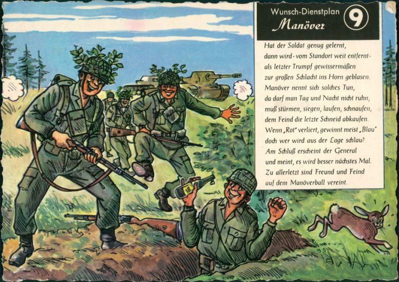 Ansichtskarte  Militär Scherzkarte: Manöver Wunsch Dienstplan 1977