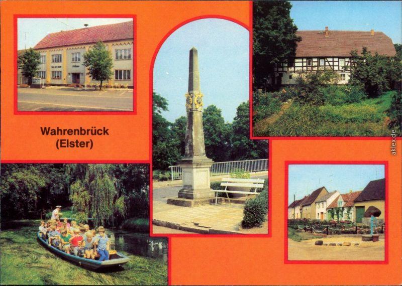 Wahrenbrück-Uebigau Postsäule, Mühle, Kahnfahrt, Uebigauer Straße 1980
