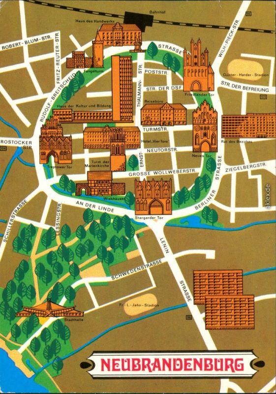 Ansichtskarte Neubrandenburg Landkarte - Stadtplan 1980 Nr. 103727 -  oldthing: Ansichtskarten Deutschland UNSORTIERT