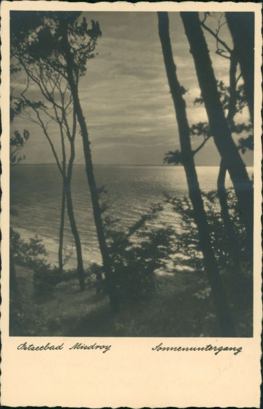 Postcard Misdroy Międzyzdroje Sonnenuntergang 1934