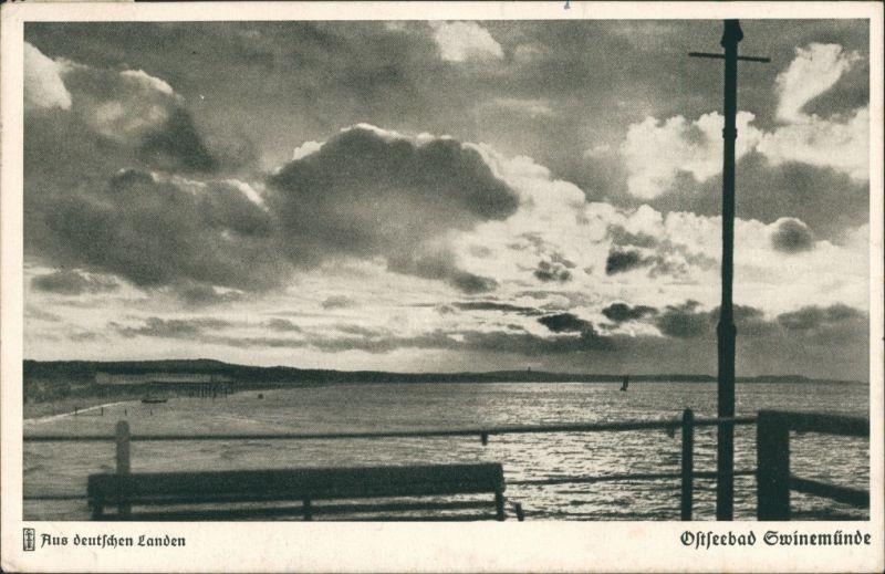 Postcard Swinemünde Świnoujście Blick auf Meer und Seebrücke 1937
