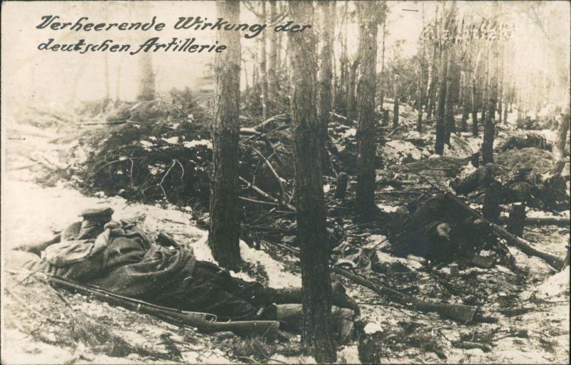 verheerende Wirkung der Dt. Artillerie Privatfoto AK WK1 1917 Privatfoto