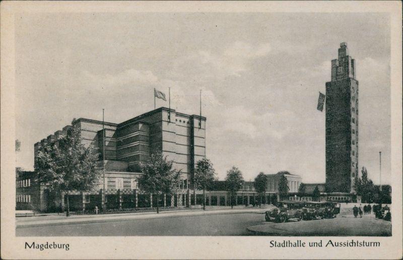 Ansichtskarte Werder-Magdeburg Stadthalle und Turm 1952