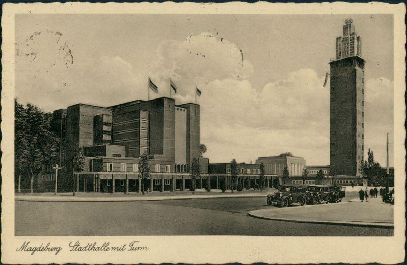 Ansichtskarte Werder-Magdeburg Stadthalle, Turm Autos 1932