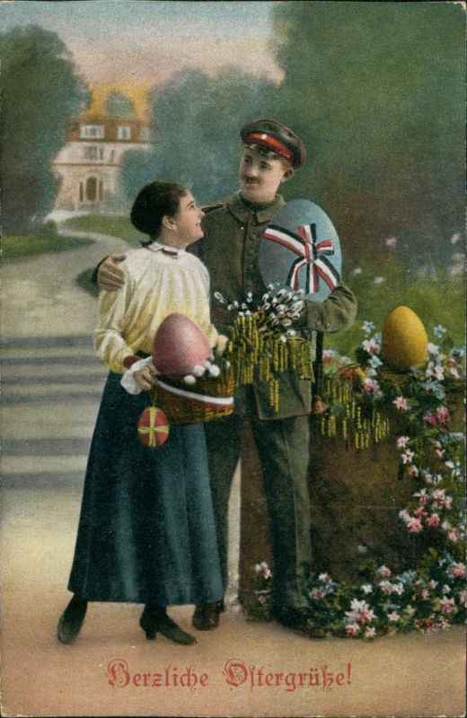 Ansichtskarte  Ostern - Frau und Soldat mit Ostereiern Patriotika 1916