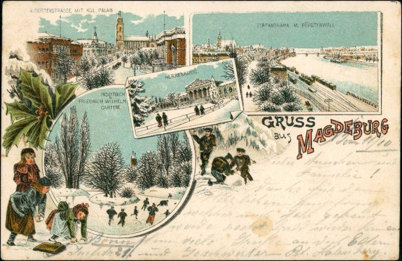 Ansichtskarte Litho AK Magdeburg Winter-Litho: ua Augustastrasse 1897