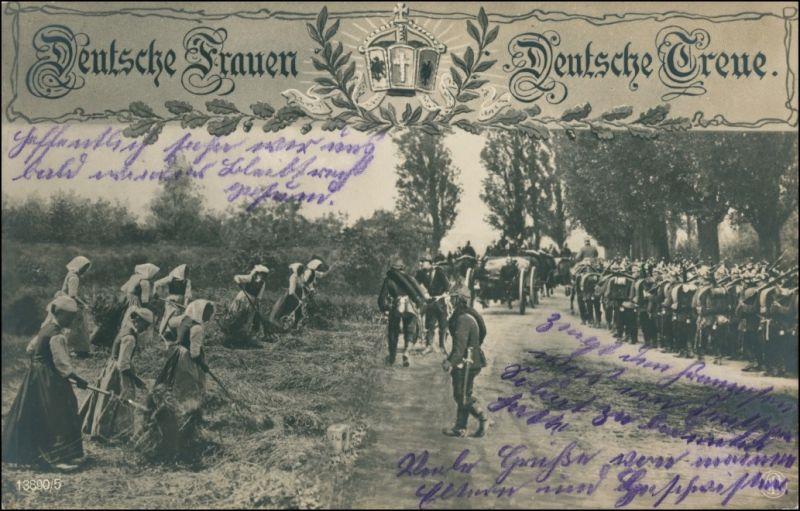 Ansichtskarte  Militaria WK1: Deutsche Frauen Deutsche Treue 1914