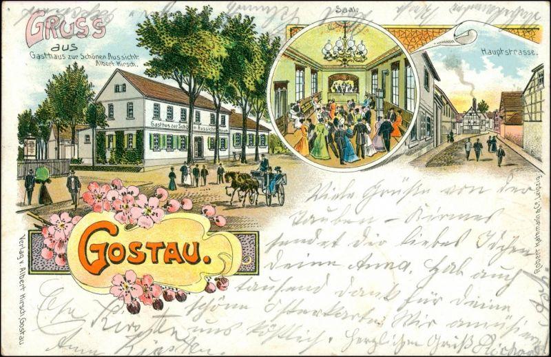Ansichtskarte Litho AK Gostau-Lützen-Wiesengrund Litho AK: Gasthaus 1908