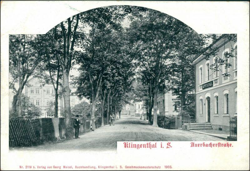 Ansichtskarte Klingenthal Auerbacherstraße 1903