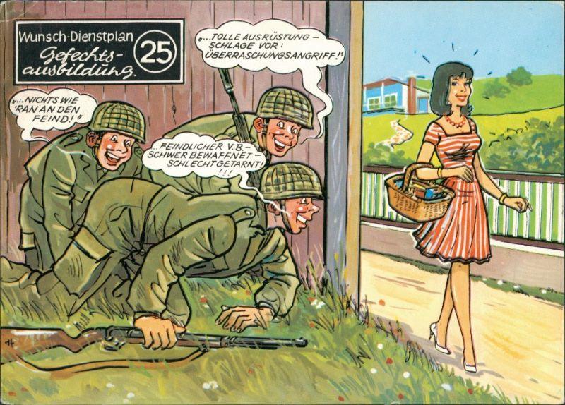 Ansichtskarte  Gefechtsausbildung - Bundeswehr Scherzkarte 1978