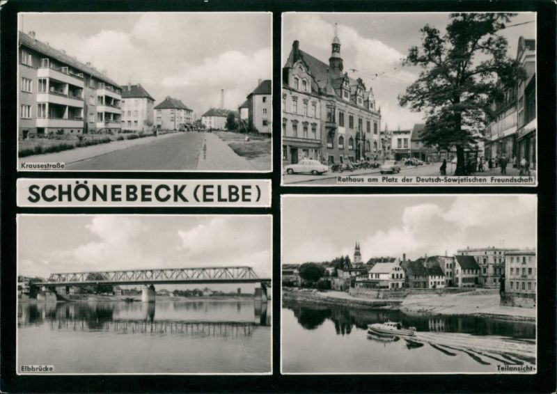 Schönebeck (Elbe) Krausestraße, Elbbrücke, Rathaus, Teilansicht 1963