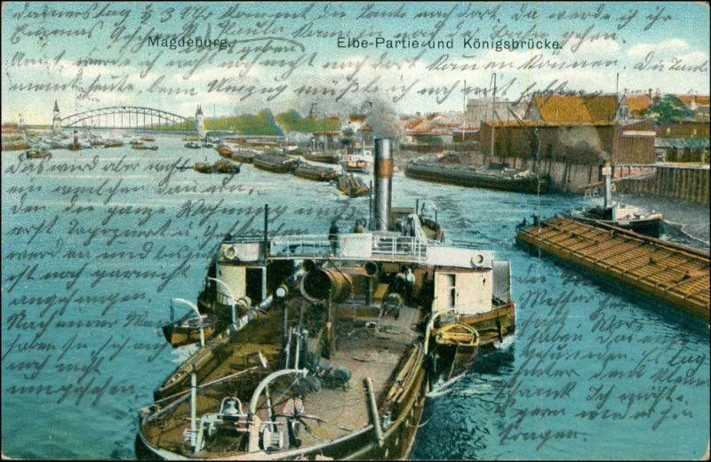 Magdeburg Elbe Partie Königsbrücke Dampfer Schiff Kohledampfer 1912