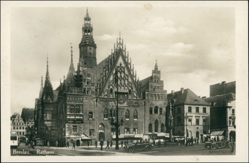 Postcard Breslau Wrocław Autos vor dem Rathaus 1930