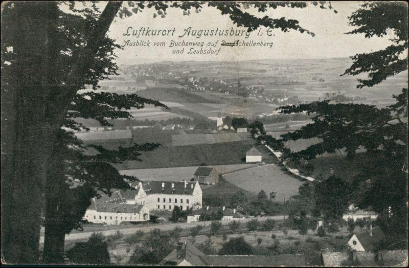 Ansichtskarte Augustusburg Erzgebirge Blick vom Buchberg 1921
