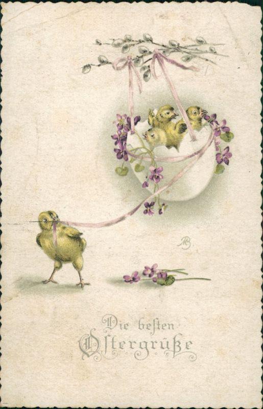Grusskarte OSTERN, Ostergrüsse, Easter, Küken mit Osterschmuck 1911