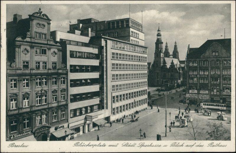 Postcard Breslau Wrocław Blücherplatz, Sparkasse 1934