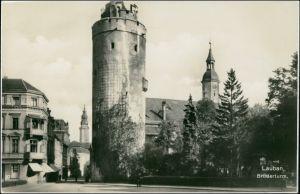 Postcard Lauban Lubań Straßenpartie am Brüderturm 1928