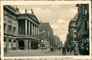 Postcard Breslau Wrocław Schweidnitzer Straße, Geschäfte - belebt 1938