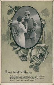 Zwei dunkle Augen - Paar, Soldat mit Pickelhaube verliebt mit Frau 1915