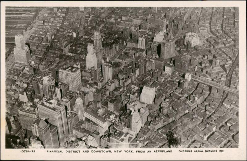 Postcard Manhattan-New York City Luftbild Aero 1932