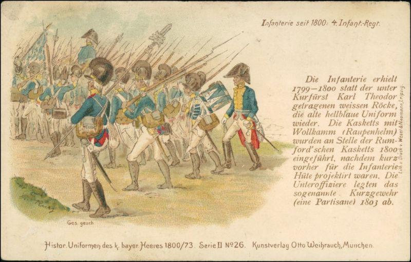 Ansichtskarte  Historische Uniform bayer. Heer, 4. Infanterie Regiment 1912