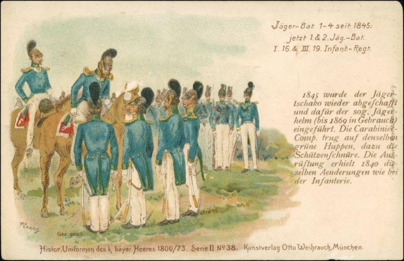 Ansichtskarte  Jäger Bat. anno 1845 Uniform des bayern. Heeres 1912