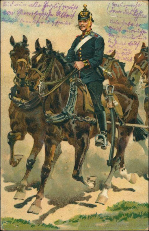 Deutsche Armee Künstler   Soldat zu Pferde, gel. ab Stempel Potsdam 1914