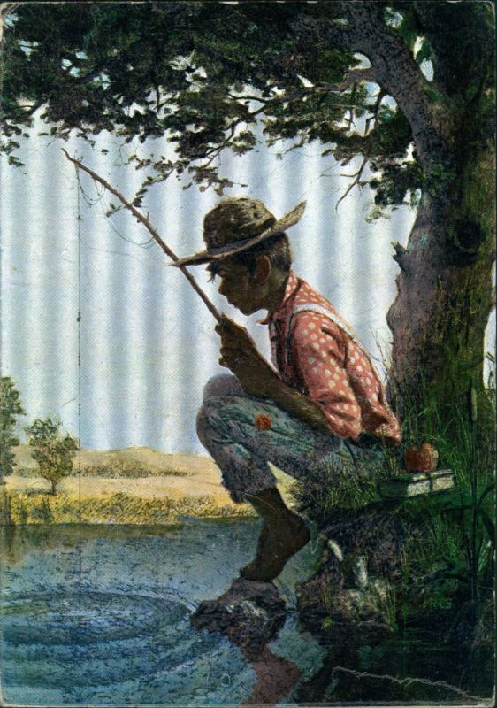 Junger Mann beim Fischen, Angeln, Angler, Künstlerkarte 1950 Silber-Effekt