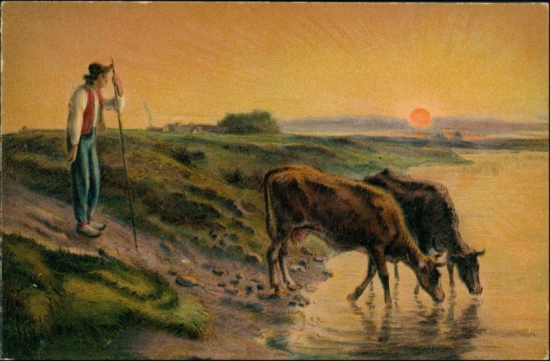 Künstlerkarte: Gemälde / Kunstwerke F. Millet Der Kuhhirte