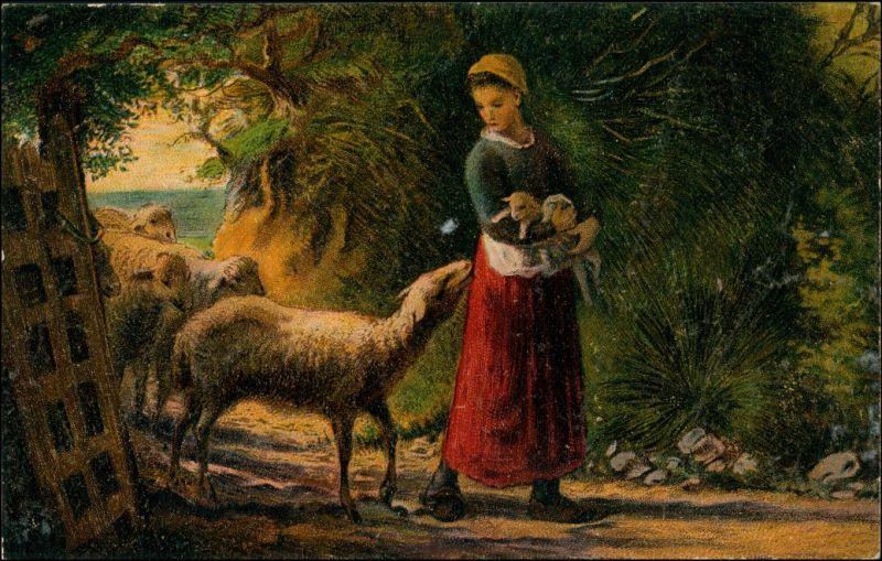 Künstlerkarte: Gemälde / Kunstwerke In Guter Obhut F. Millit 1913