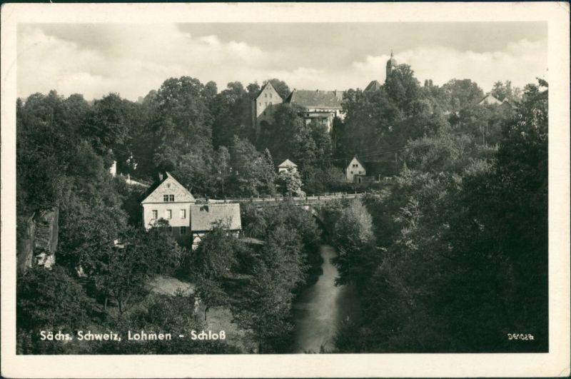 Ansichtskarte Lohmen (Sachsen) Stadt und Schloß 1955