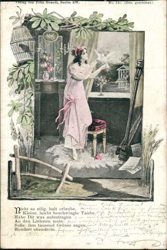 Ansichtskarte  Künstlerkarte junge FRau am Fenster mit Taube 1901