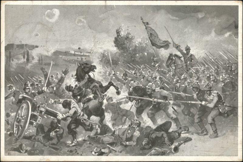 Ansichtskarte  Künstlerkarten - Militär Schlachtszene gel nach Brescia 1910