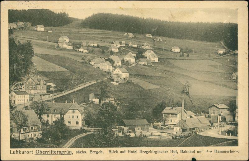 Ansichtskarte Rittersgrün-Breitenbrunn (Erzgebirge) Bahnhof, Fabrik 1917