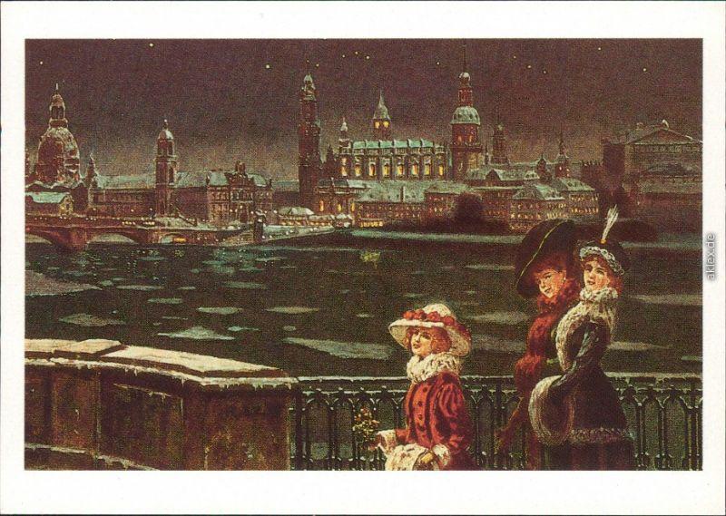 Ansichtskarte Dresden Museum für Geschichte: Dresden im Winter 1987