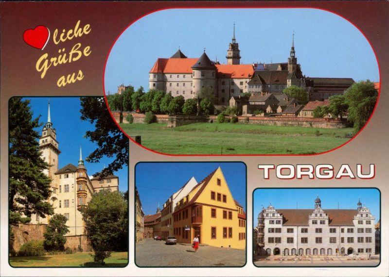 Ansichtskarte Torgau Schloß Hartenfels, Schloßstraße, Rathaus 1995