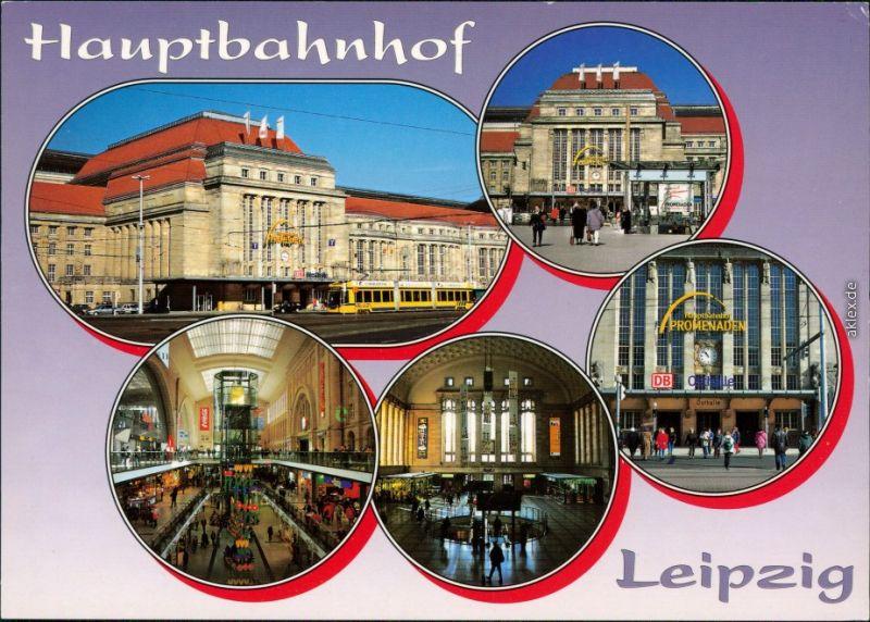 Ansichtskarte Leipzig Hauptbahnhof - Außen- und Innenansicht 1995