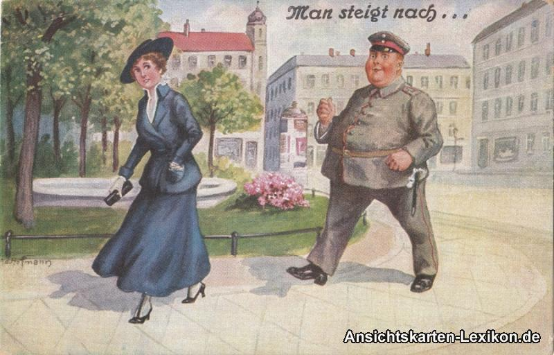 Ansichtskarte  Polizist steigt Frau nach, Man steigt nach 1917