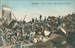 Cartoline Messina Erdbeben von Messina - Rettung 1908