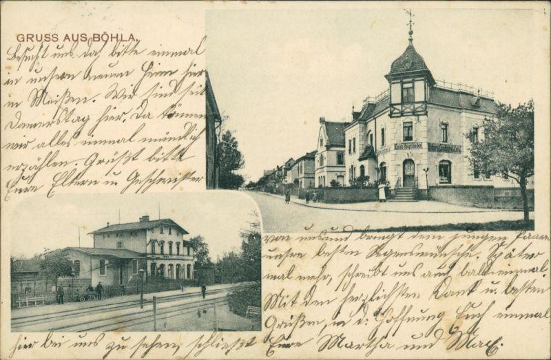 Ansichtskarte Böhla-Priestewitz 2 Bild: Bahnhof U. Straße 1909