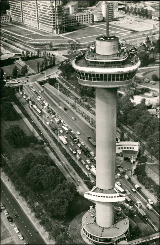 Postkaart Rotterdam Rotterdam Luftbild Stadt und Euromast 1965