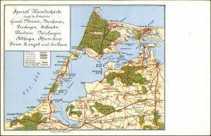 Ribnitz-Damgarten Spezial Wanderkarte durch die Ostseebäder 1915