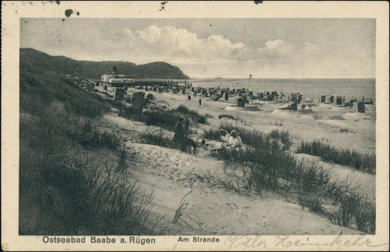 Ansichtskarte Baabe Strand, Dünen, Seebrücke 1927