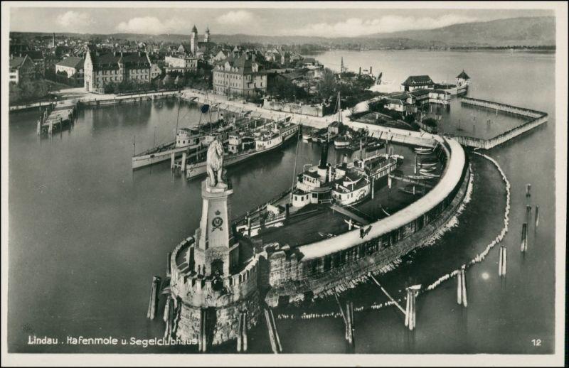 Ansichtskarte Lindau (Bodensee) Luftbild Hofenmolde, Clubhaus - Stadt 1930