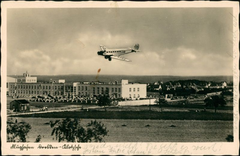 Ansichtskarte Klotzsche-Dresden Flughafen - Klotzsche, JU 52 1937