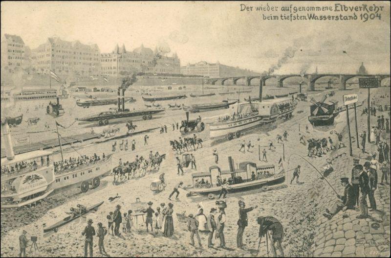 Ansichtskarte Dresden Scherzkarte Niedrigwasser - Dampfer 1904