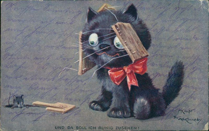 Ansichtskarte  Maus und Katze Künstlerkarte M Knicht & A. Kenne 1916