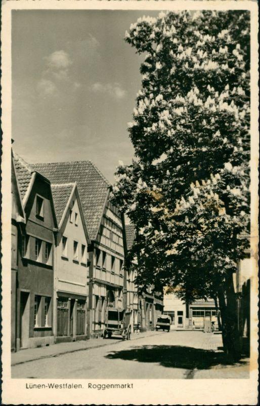 Ansichtskarte Lünen (Westfalen) Roggenmarkt 1950