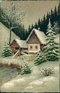 Künstlerkarte: Winter - Haus im Wald, Weihnachten 1927 Silberrand